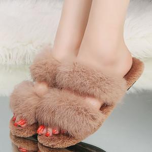 MUQGEW pantoufles de fourrure chaussures femme Slip ON peluche cheveux Casual plat peep toe automne chaussures Cross-fleece pantoufles zapatos de mujer