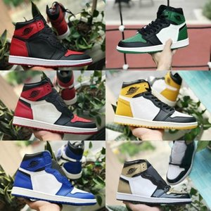 2019 New High 1 OG TOP 3 Banned Bred Royal Blue Mid Hare Women Shoes For Men 1s Shattered Backboard Trainers Red White Air Sneakers