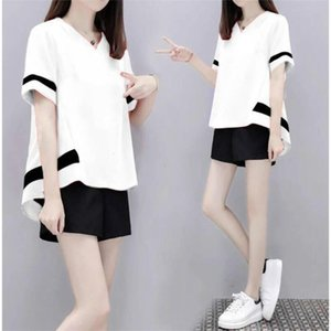 Women's Loose Slim Casual Sport Suit Color Matching Sportswear Girl's Fashion Two-piece Cotton Set Summer Breathable Suits