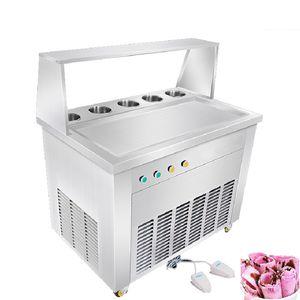 BEIJAMEI Máquina para hacer rollos de yogurt de fruta frita revolviendo Máquina de helado frito tailandés / Bandeja cuadrada con 5 tanques de enfriamiento