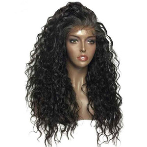 Pizzo parrucca Preplucked Water Wave Wig sbiancato nero falso cuoio capelluto Remy donne 360 Lace frontale trasparente parrucca
