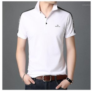 Shirt Mens Basic Top Clothes Summer Mens Solid Color Polo Lapel Neck Letter Printed Patchwork Tees Summer Breathable Casual T