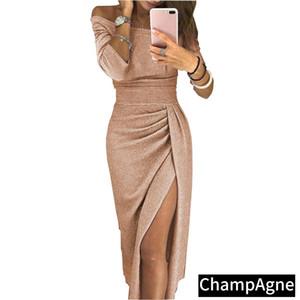 Sexy Hip Slit Mulheres Vestido Sem Mangas Espaguete Correia Pure Color Barco Bateau Decote Vestido Longo Moda Outono