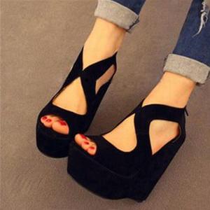 Super Women Platform Wedge Sandals Back Zip Peep Toe Sandalias Pumps Zapatos Ladies Summer Shoes Woman Size 44 45 49 52