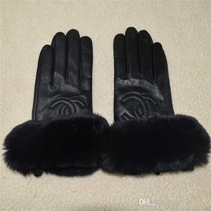 Premium guanti di pelle inverno marchio e pile touch screen del coniglio del rex bocca pelliccia Guanti dita di pecora sub termica a prova di freddo