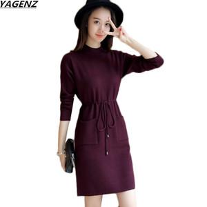 Outono Inverno Vestido Mulheres Nova Moda slim de manga comprida malha pulôver Vestido meia altura Collar Sweater Feminino YAGENZ