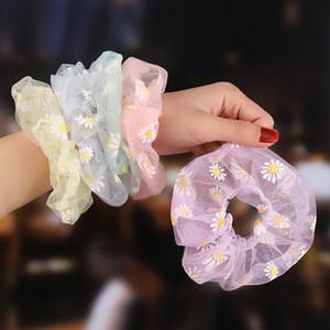 Organza Haar Scrunchies Frauen Plaid Scrunchie elastische Haar-Bänder Mädchen Kopfbedeckung Gummihaargummis Transparent Pferdeschwanz-Halter