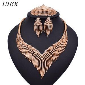 Exquisita Dubai oro / plata Color de Sistemas de la joyería de la boda accesorios de la mujer nigeriana conjunto de joyas perlas africanas bisutería