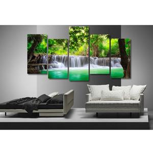 5-Panel Холст Wall Artwork Картины Водопад Печать изображения Набор 30 * 60 / 80см
