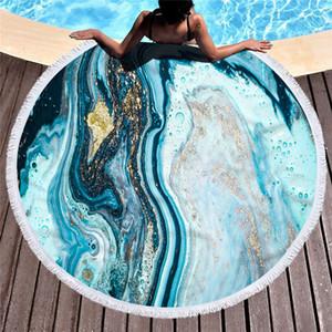 Marble große runde Strandtuch für Erwachsene Bunte Muster aus Mikrofaser Quicksand Dusche Badetuch Reisedecke Schwimmen Abdeckung Y200428