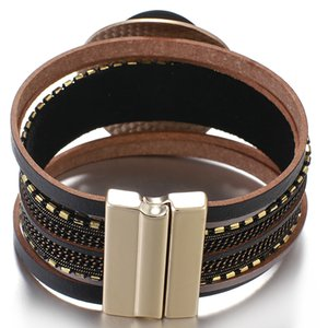 Flashbuy Fashion Round Metal Charms Multilayer Leather Wrap Bracelets Trendy Chain Bangles For Women Multilayer Female Jewelry