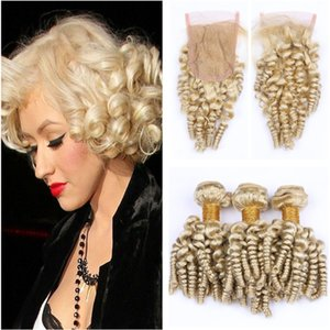 Блондинка Funmi вьющиеся пучки волос с закрытием кружева #613 тетушка Funmi упругий локон бразильский человеческих волос ткет и 4X4 кружева закрытия