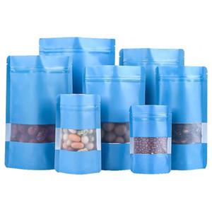 8 Boyutları Mavi Kahve Ambalaj Stand Çanta Gıda Depolama Paketi Çanta Şeffaflık Pencere ile Ön Nem Geçirmez Mat Snacks Torbalar
