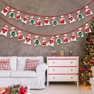Calendrier de l'Avent de Noël 11x16cm Sac cadeau bricolage Calendrier Countdown feutre Garland Date de 1-24 Nouvel An Noël Décoration d'intérieur