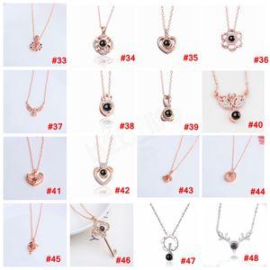 95styles ronde Coeur mémoire chaîne Collier 100 Langues I Love You 520 Pendentif Projection Bijoux romantique Journée cadeau LJJA3694 Saint-Valentin