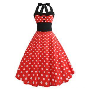 Women Summer Dress Vintage Retro Printing Bodycon Sleeveless Halter Fashion Female Evening Party Prom Swing Dress Vestidos M140