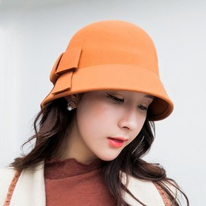 Seioum 100 wool Mother Gift Lady Top Grade Banquet Formal Hats & Caps Hats, Scarves & Gloves Hats Women Winter Pure Wool Felt Bowknow Fedora