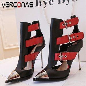 VERCONAS 2020 Модные женские сапоги Женские насосы натуральная кожа металлические украшения классический дизайн Острый носок тонкий каблук Обувь