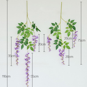 100CM 5Colors Artificial Flower Silk Orchid Wisteria Vine Flower Stings for DIY White Wedding Backdrop Wall Decoration Shooting Photo Props