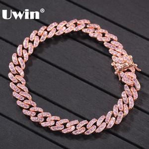 Joyería de la pulsera Enlace UWIN de oro rosa de color cubana 9mm heló hacia fuera Rosa circonio cúbico Hombres Mujeres manera de las pulseras de Hiphop