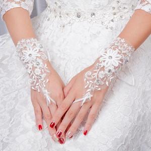2019 Элегантный белый Короткие атласные невесты кружева Кристалл Люкс Свадебные перчатки Женщины Finger перчатки Свадебные аксессуары