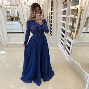 Charming Royal Blue Prom Dresses Sheer Neck Volle Hülse mit Pailletten Party Kleider Drapiert Chiffon Abendkleid Plus Size