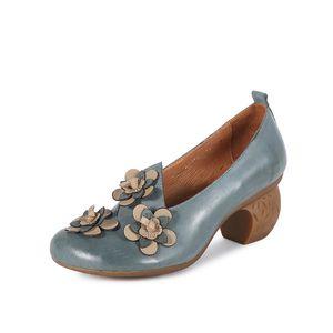 Johnature 2019 Yeni İlkbahar / Sonbahar Hakiki Deri Garip Stil Retro Kadın Ayakkabı Yüksek Topuk Pompaları