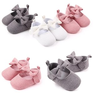 2020 Summer Solid Colour Baby Girl Shoes Newborn Infant First Walker Shoes Bowknot Soft Sole Prewalker Sneakers Casual Shoes18M