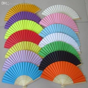 Wholesale-Summer Style Ladies Bamboo Paper Fan Hollow Out Hand Folding Fans Decoration Favor Outdoor Wedding Party