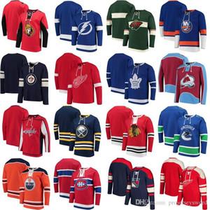 2018 Hiçbir Şapka Kapüşonlular Jersey Toronto Maple Leafs Buffalo Süvarileri New York Islanders Colorado Avalanche Vancouver Canucks Winnipeg Jets Formalar