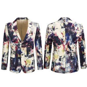 Estilo de la tinta china Pintura Traje chaqueta de terciopelo de lujo de los hombres de la chaqueta del juego Actor Cantante DJ del vestido de la tela escocesa de Superstar Impreso hombres de la moda