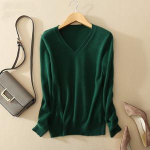 Al por mayor-otoño de la mujer suéter de cachemira suéteres y jerseys de invierno femenina de punto con cuello en V tirón femme manche longue suéter