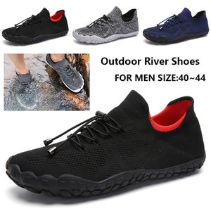 New Men's Outdoor River Shoes Men Personality Flying Woven Water Shoes Lace-up With Elastic Pull Buckle Outdoor D25