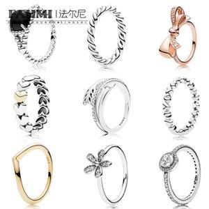 FAHMI 100% 925 Sterling Silver Elegance Dazzling Daisy Anel Rose Bow corda torcida ANEL corrente dos corações Sparkling Seta Anel