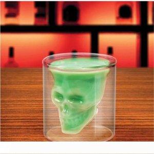 Arrefecer 75ml Copa Wine Glass Crânio tiro vidro de cerveja Whiskey Halloween Decoração Partido criativa Copos Transparente Vidros bebendo