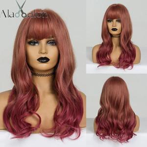 Alan Eaton Ombre Brown Red Wig Long Wavy Parrucche sintetiche con Bangs per le donne nere Parrucca resistente al calore Lolita Cosplay