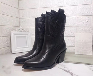 Vendita calda-Stivali invernali in pelle Designer Western Boots donna Stivaletti da cowboy con ricamo Punta a punta Martin sheos 2019 nuovo stile
