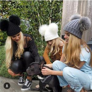 Sonbahar ve Kış Bebek Şapka Erkek Kız Yapay Çift Saç Top Kap Moda Kadın Sıcak Casual Örgü Şapka