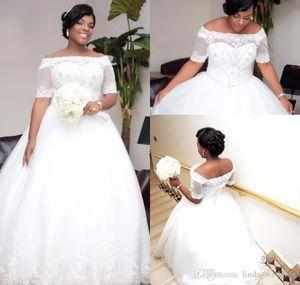 2019 Vintage Arabic Dubai African Long Backless Wedding Dress Princess White Ivory Lace Applique Bridal Gown Plus Size Custom Made