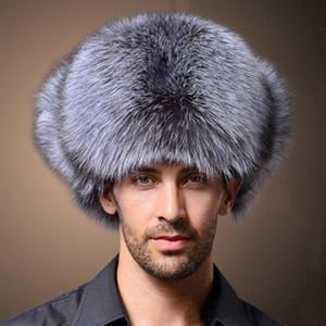 Naiveroo de haute qualité pour hommes Faux fourrure de renard chapeaux d'hiver Lei Feng Chapeau avec cache-oreilles neige chaude Caps Cap bombardier russe Thicken Hat