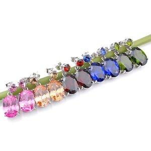 Luckyshine précieuse couleur Mix Zircon Boucles d'oreilles en argent 925 Femme New Ovale Morganite Topaze Grenat Péridot Vintage mariage Jewelr