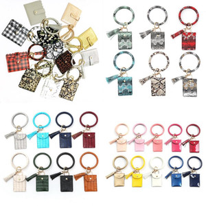 Bracelet Keychain Wallet Leopard Snake PU Leather Tassel Women Card Bag Women Clutch Wristlet Keyring Novelty Items OOA8090