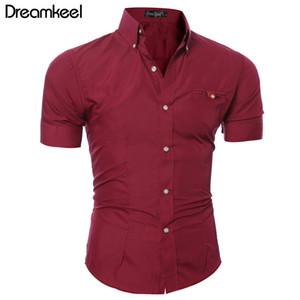 Hommes chemise bussiness luxe revers boutonnière mâle manches courtes top blouse casual solide chemise hawaïenne a frappé la couleur mince chemises y
