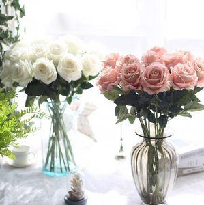 Las flores de seda artificial flor de Rose Partido decorativo Peony táctil real flores falsas decoración de la boda de novia Ramo de Navidad 13 colores LQPYW1063