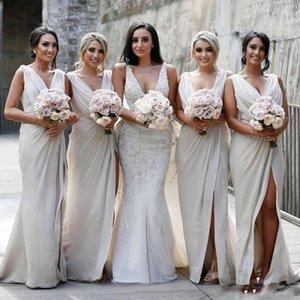 2020 New Sexy Summer Chiffon dama de honra Vestidos Frente Dividir V Neck empregada doméstica de honra do vestido de casamento BM0203