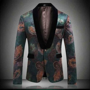 Mens New Arrival Wedding Blazers Slim Fit Green Printed Blazer Male Casual Married Jackets Formal Blazer Tops