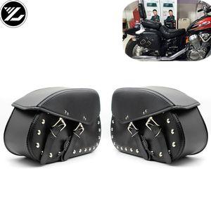 Universal Motorcycle Saddlebags stockage côté cuir outil Sac pochette Bagages pour Triphum XL883 1200