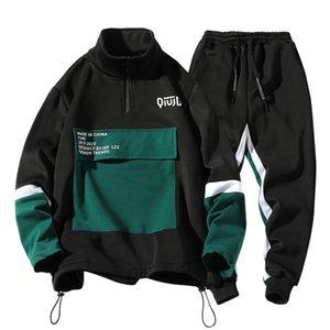mans Hoodie Heavy sport jacket suit for fall winter black jacket Korean outdoor sports long sleeve Plus size Men's sweatpants T200531
