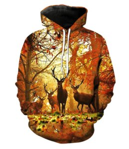 Fashion 3D Printed Forest Deer Men Women PulloVer Hoodies Street Wear Casual Hip Hop Pockets Sweatshirt Clothing ZGXL065