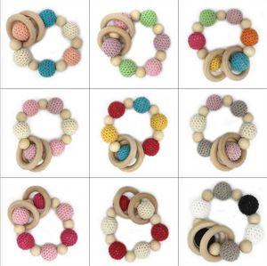 Ins enfants Bracelets en bois Enfant Perles en bois Perles Tétines handmake Teething Bracelet bébé naturel Jouets non toxique Hot Vente D107